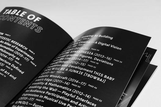 Inhaltsverzeichnis der Contemporary Code Ausstellung