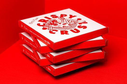 Crispy Crust Records Pizzaschachtel Stapel