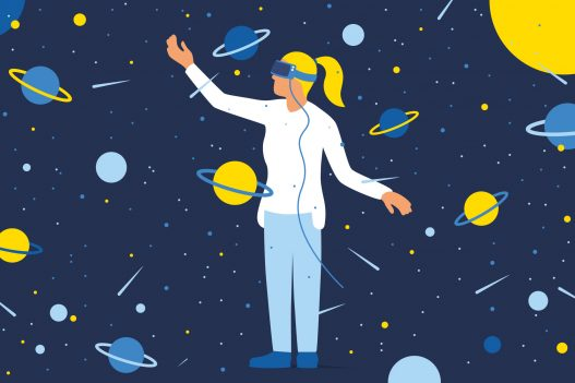 FWF Illustration Frau und Planeten