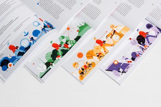 Übersicht diverser Farbkombinationen der Illustrationen im A1 Nachhaltigkeitsbericht 2015/2016