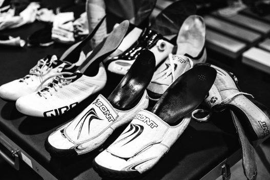 Schuhe der Radprofis beim Six Days in London