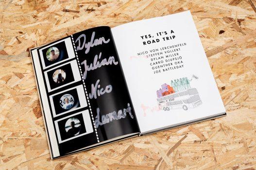 Personalisiertes O'Neill Book of Challenges mit Namen der Wakeboarder, die gemeinsam auf dem Road Trip waren.