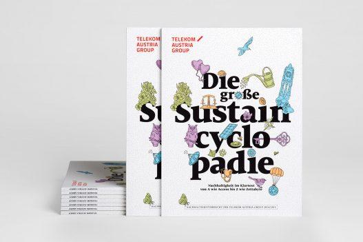 Sustaincyclopedia Cover des A1 Telekom Nachhaltigkeitsberichts 2014/2015