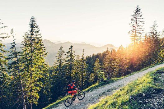 Radsportler auf Haibike Rad in den Bergen
