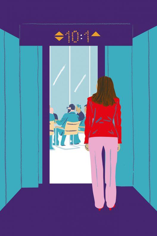 IHS Studie Illustration einer Frau mit roter Jacke und rosa Hose vor Meeting Raum mit männlichen Kollegen