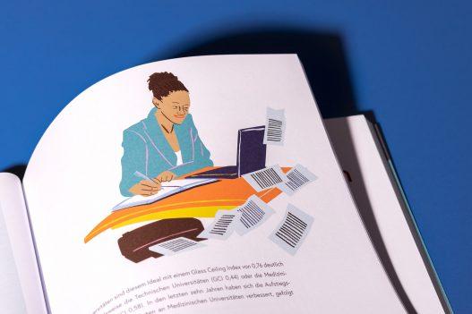 Illustration einer Frau bei der Arbeit am Schreibtisch