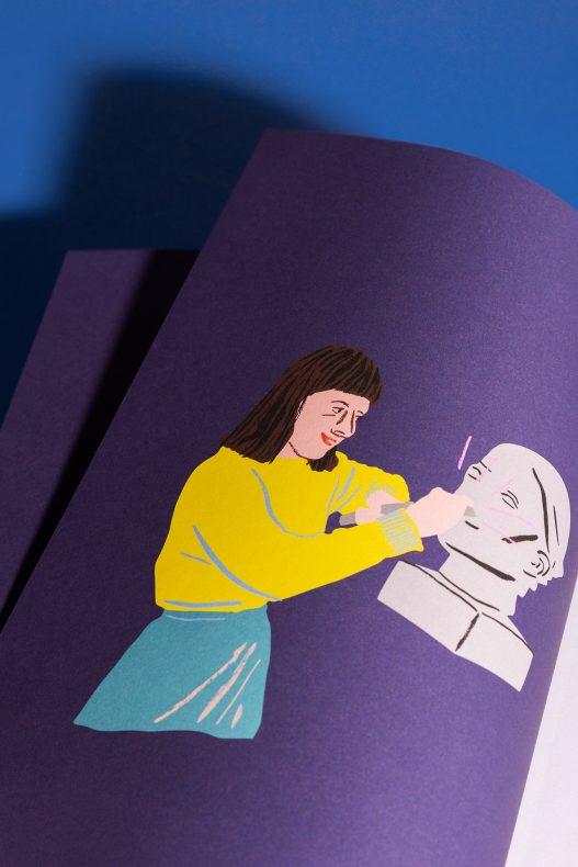 Illustration einer Frau mit gelbem Pullover in IHS Studie