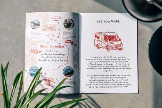 Sunlight Kundenmagazin Roadtrip Route & Van Illustration